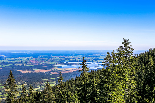 Hörnle Mountain near Bad Kohlgrub with view to the Staffelsee, Upper Bavaria, Germany